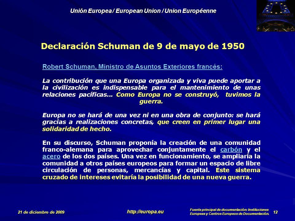 Declaración Schuman de 9 de mayo de 1950