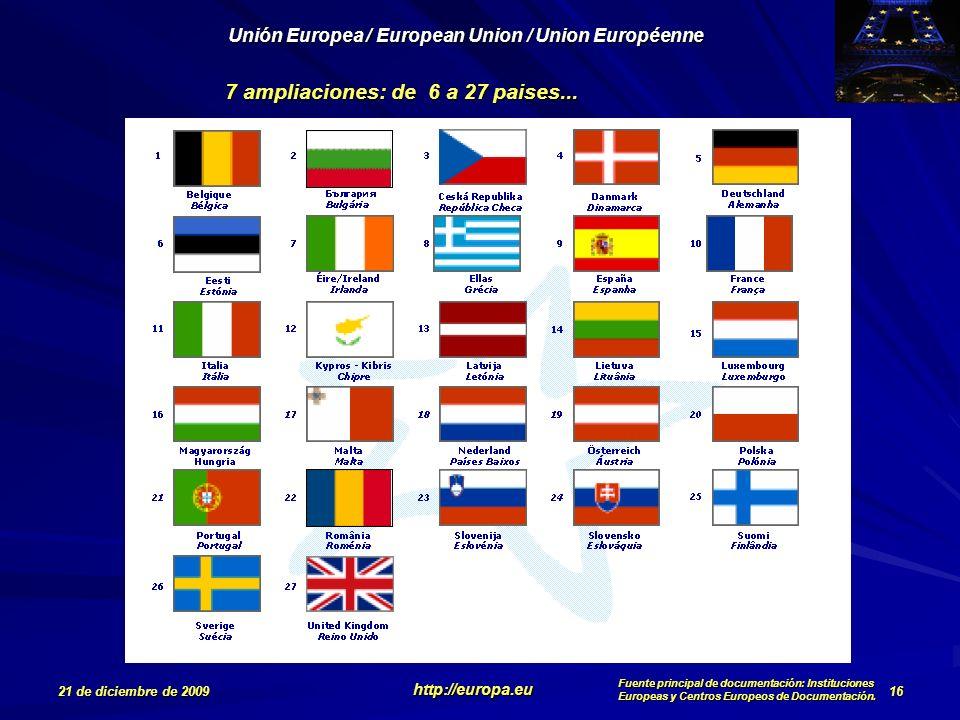 7 ampliaciones: de 6 a 27 paises...