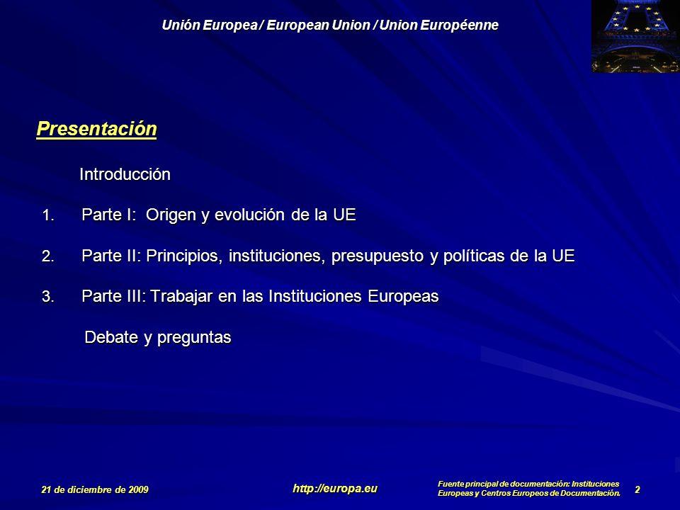 Parte I: Origen y evolución de la UE