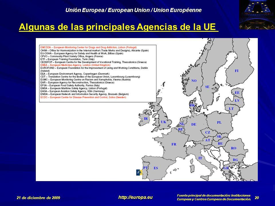 Algunas de las principales Agencias de la UE