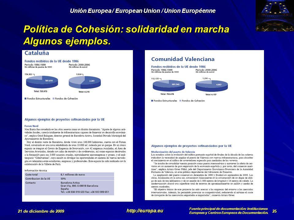 Política de Cohesión: solidaridad en marcha Algunos ejemplos.