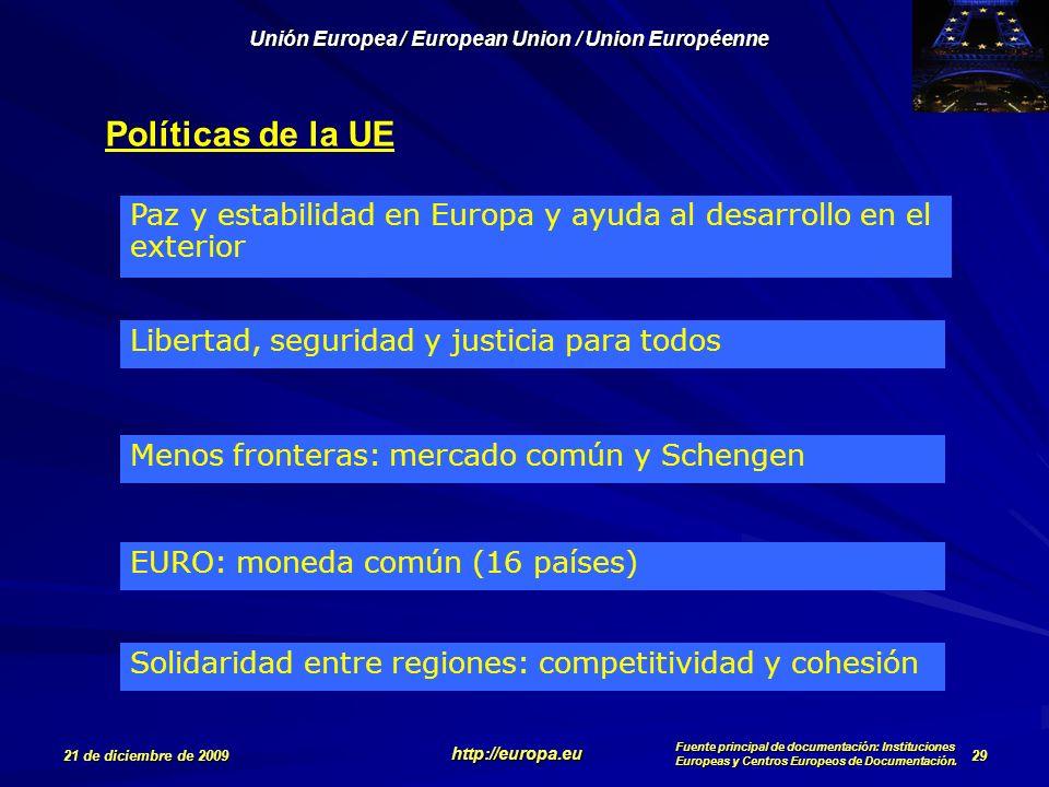 Políticas de la UE Paz y estabilidad en Europa y ayuda al desarrollo en el exterior. Libertad, seguridad y justicia para todos.