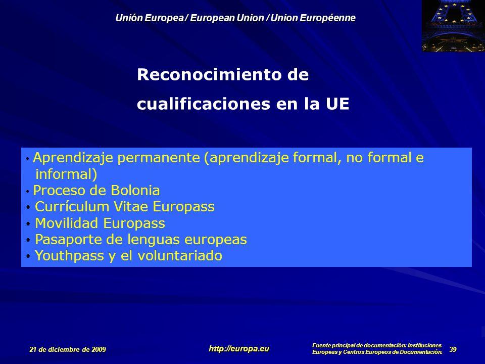 Reconocimiento de cualificaciones en la UE