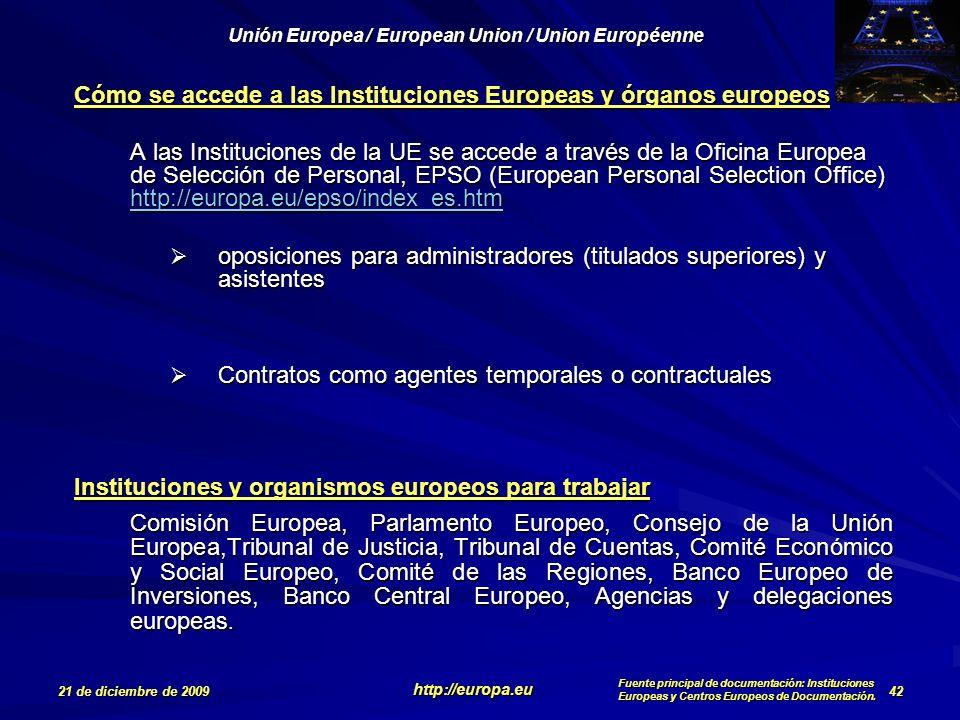 Cómo se accede a las Instituciones Europeas y órganos europeos