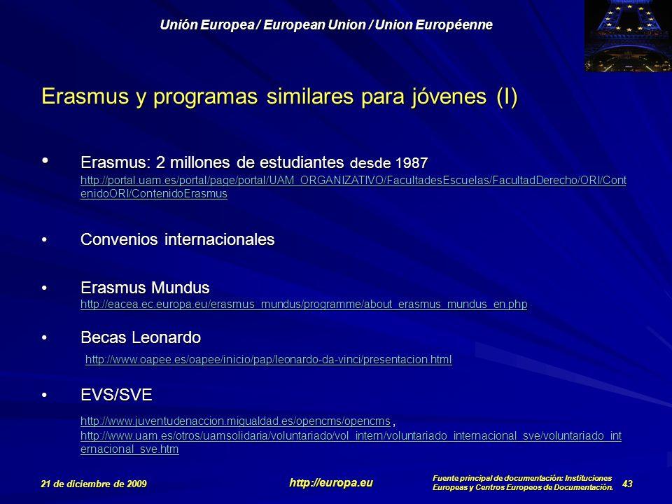Erasmus y programas similares para jóvenes (I)