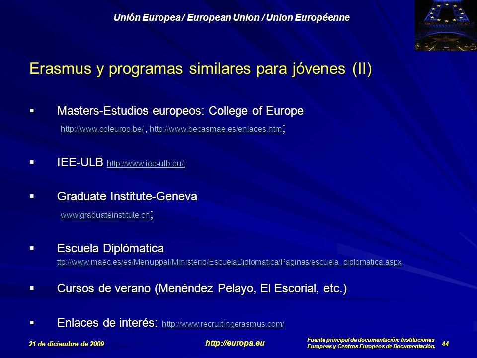 Erasmus y programas similares para jóvenes (II)