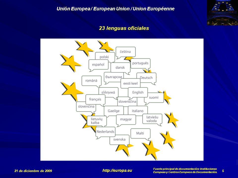 23 lenguas oficiales 5 21 de diciembre de 2009