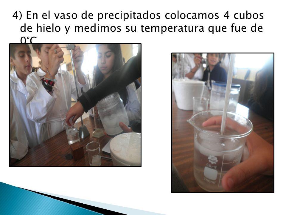 4) En el vaso de precipitados colocamos 4 cubos de hielo y medimos su temperatura que fue de 0°C