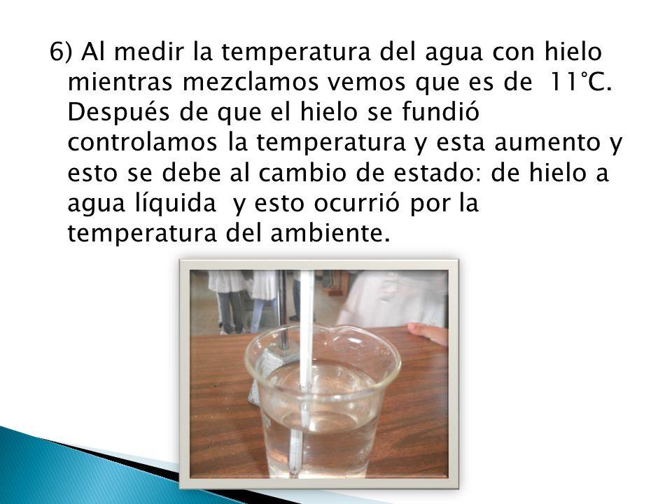 6) Al medir la temperatura del agua con hielo mientras mezclamos vemos que es de 11°C.