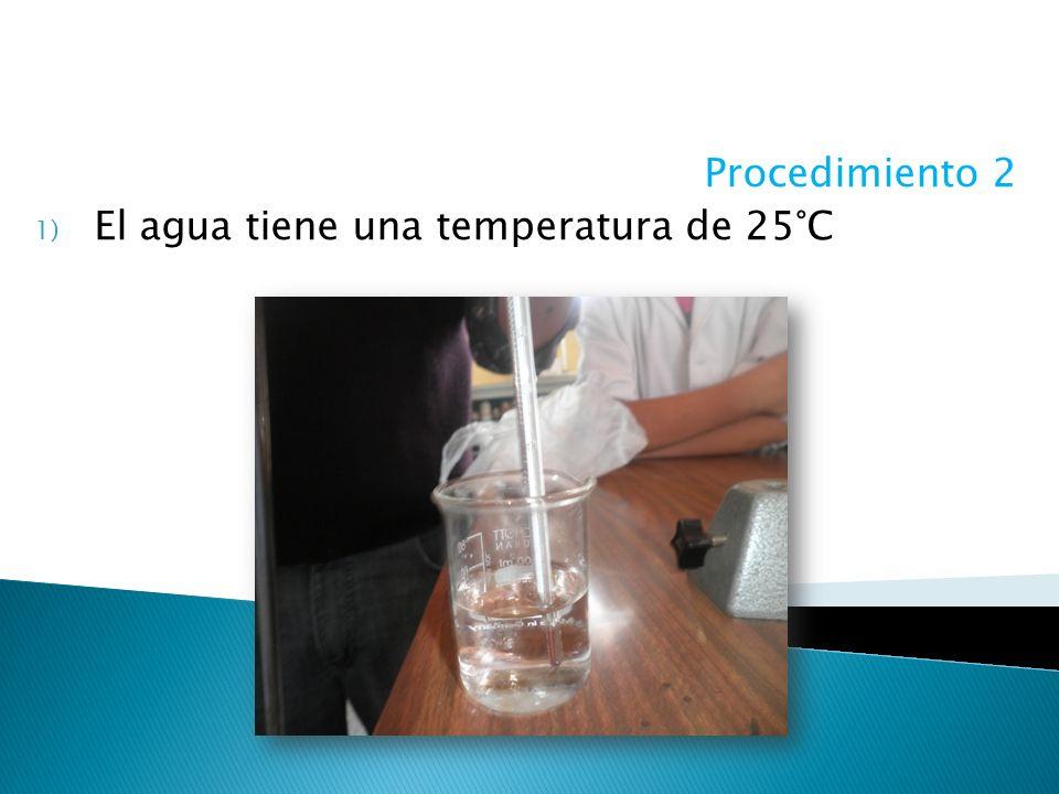 Procedimiento 2 El agua tiene una temperatura de 25°C