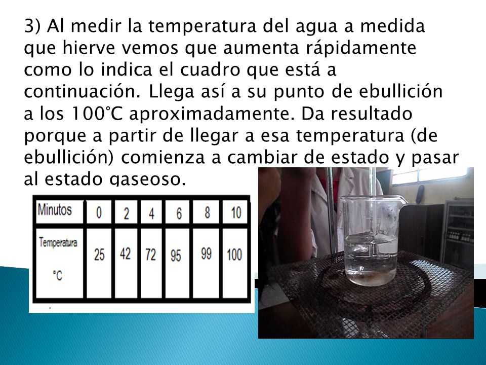 3) Al medir la temperatura del agua a medida que hierve vemos que aumenta rápidamente como lo indica el cuadro que está a continuación.