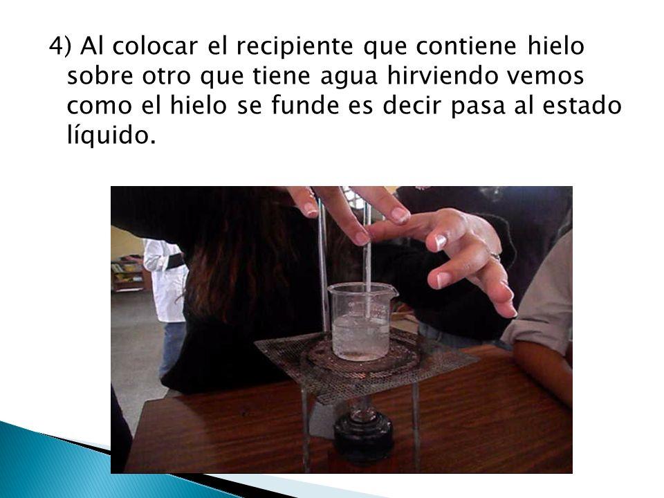 4) Al colocar el recipiente que contiene hielo sobre otro que tiene agua hirviendo vemos como el hielo se funde es decir pasa al estado líquido.