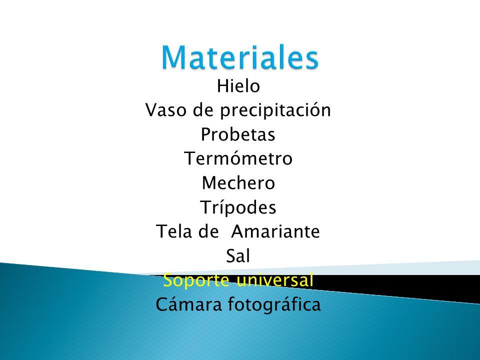 Materiales Hielo Vaso de precipitación Probetas Termómetro Mechero