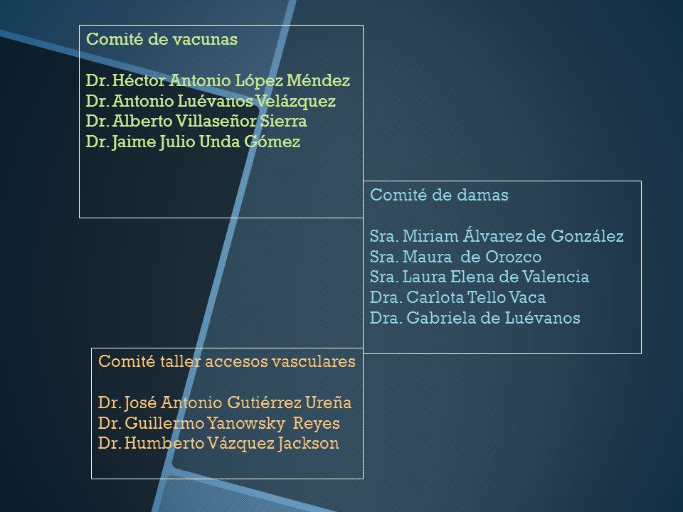 Comité de vacunas Dr. Héctor Antonio López Méndez. Dr. Antonio Luévanos Velázquez. Dr. Alberto Villaseñor Sierra.