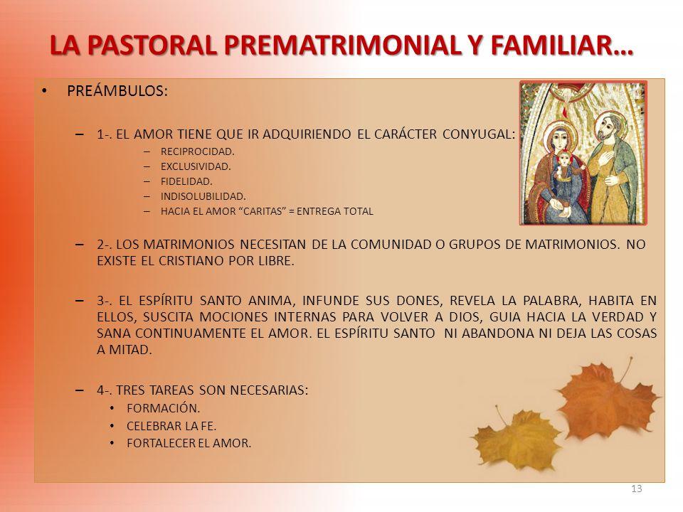 LA PASTORAL PREMATRIMONIAL Y FAMILIAR…
