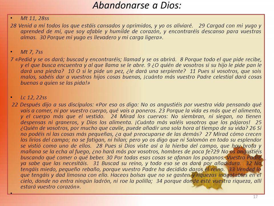 Abandonarse a Dios: Mt 11, 28ss