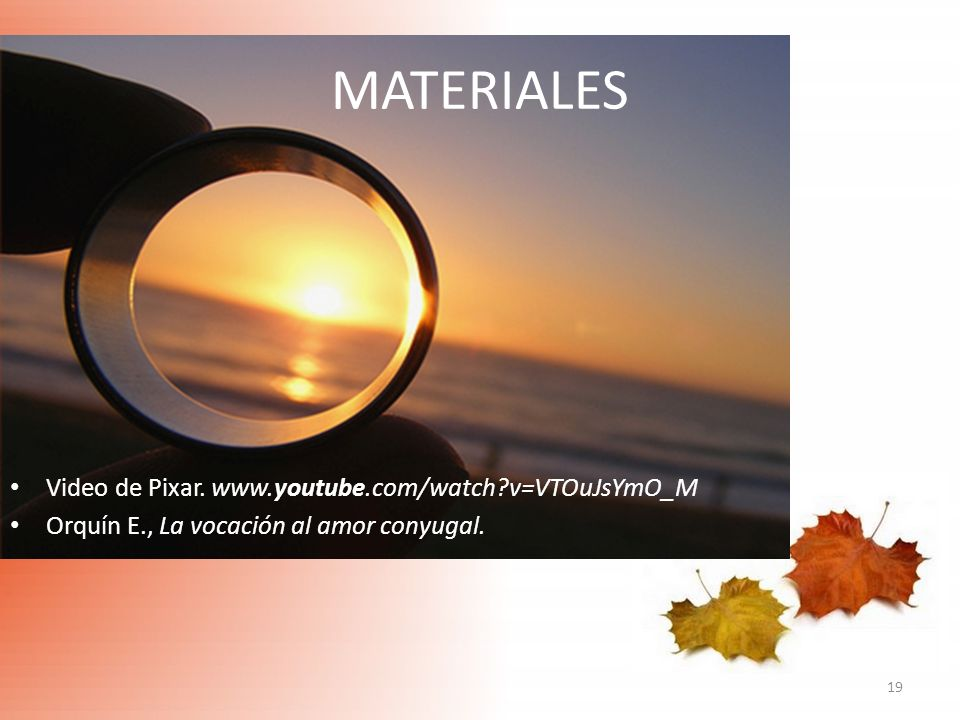 MATERIALES Video de Pixar. www.youtube.com/watch v=VTOuJsYmO_M