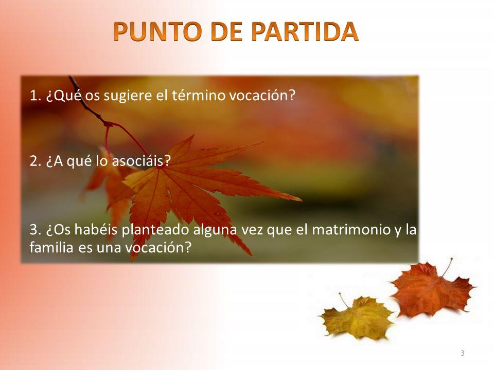 PUNTO DE PARTIDA 1. ¿Qué os sugiere el término vocación
