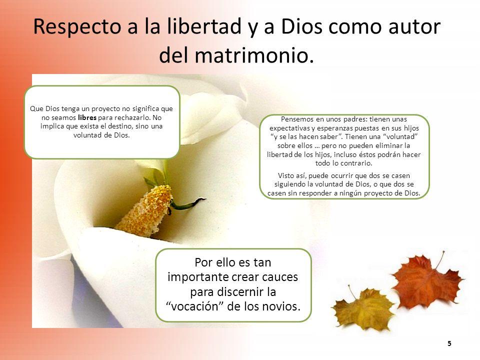 Respecto a la libertad y a Dios como autor del matrimonio.