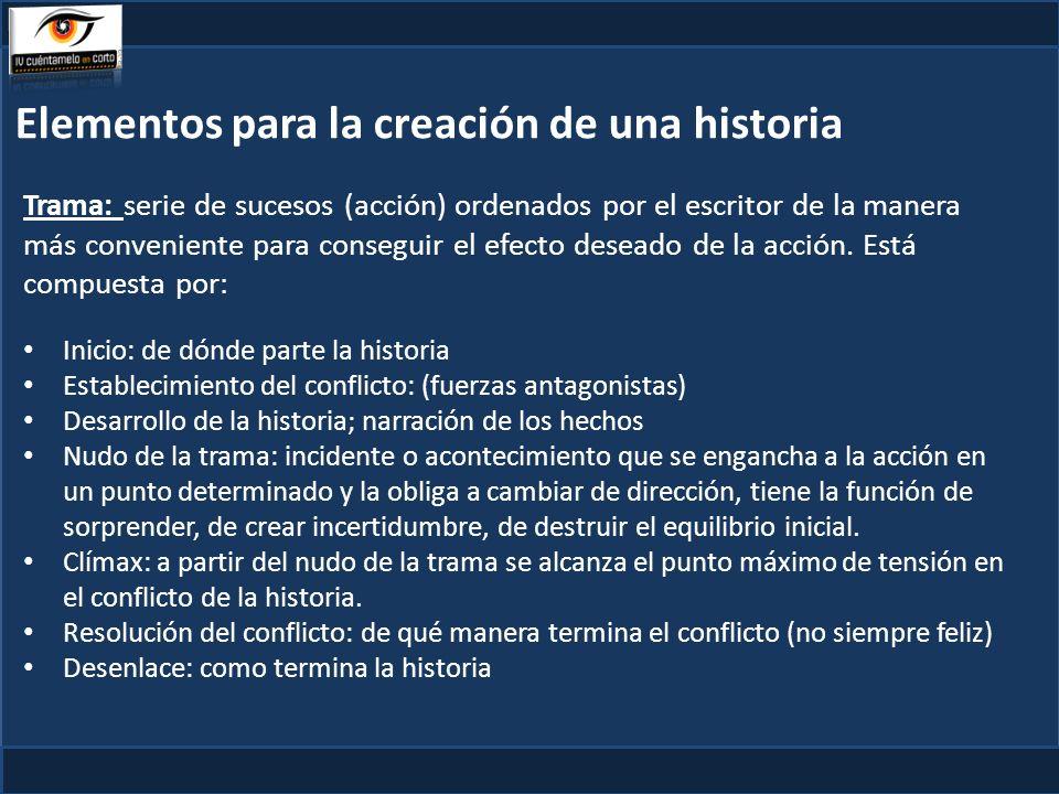 Elementos para la creación de una historia