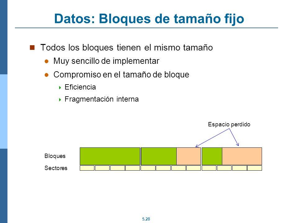 Datos: Bloques de tamaño fijo
