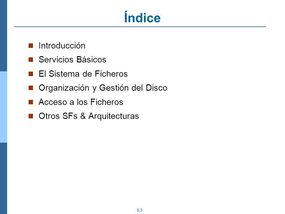Índice Introducción Servicios Básicos El Sistema de Ficheros