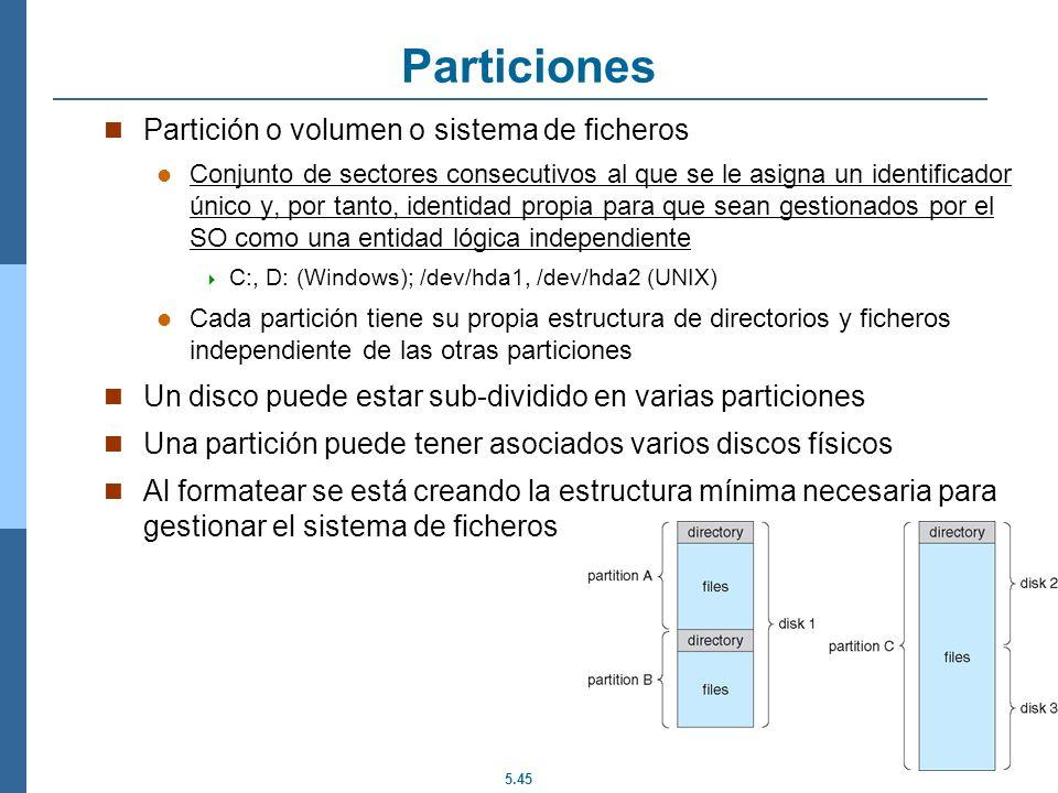 Particiones Partición o volumen o sistema de ficheros