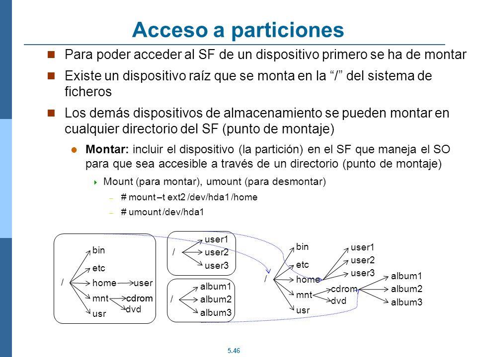 Acceso a particiones Para poder acceder al SF de un dispositivo primero se ha de montar.