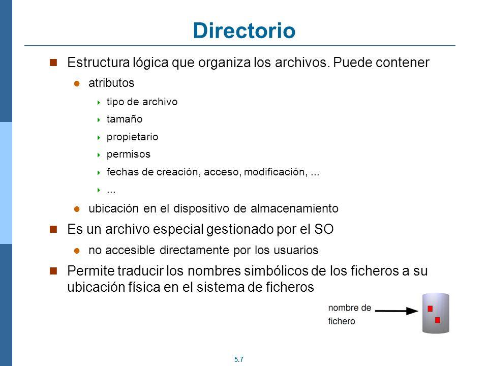 Directorio Estructura lógica que organiza los archivos. Puede contener