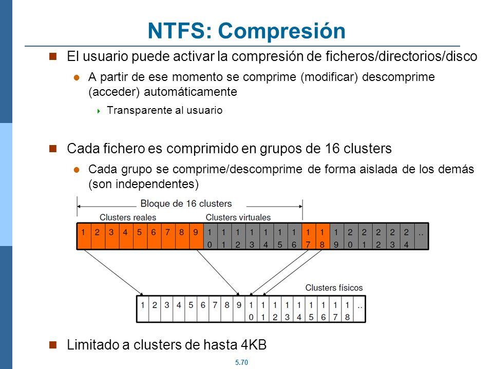 NTFS: Compresión El usuario puede activar la compresión de ficheros/directorios/disco.