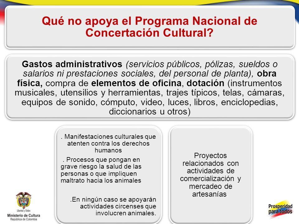 Qué no apoya el Programa Nacional de Concertación Cultural