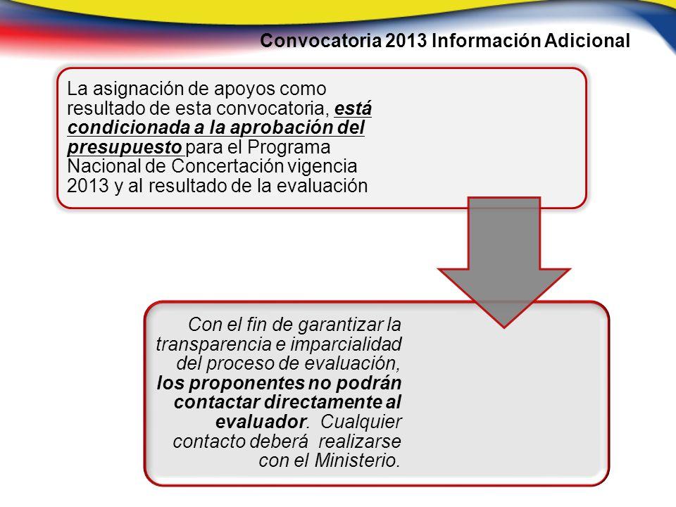 Convocatoria 2013 Información Adicional