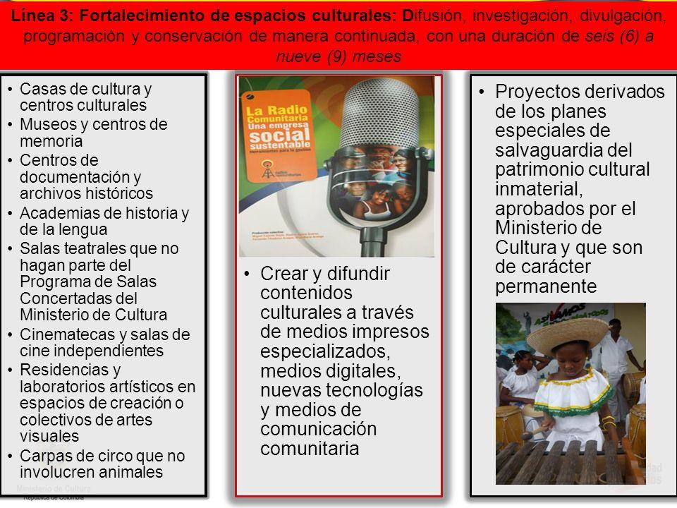 Línea 3: Fortalecimiento de espacios culturales: Difusión, investigación, divulgación, programación y conservación de manera continuada, con una duración de seis (6) a nueve (9) meses
