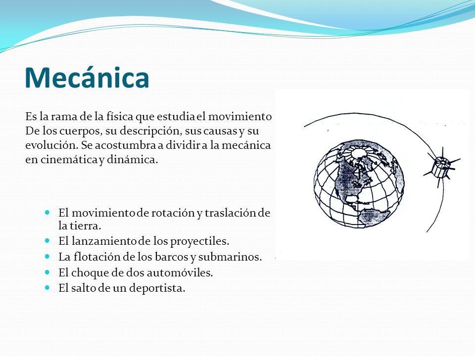 Mecánica Es la rama de la física que estudia el movimiento
