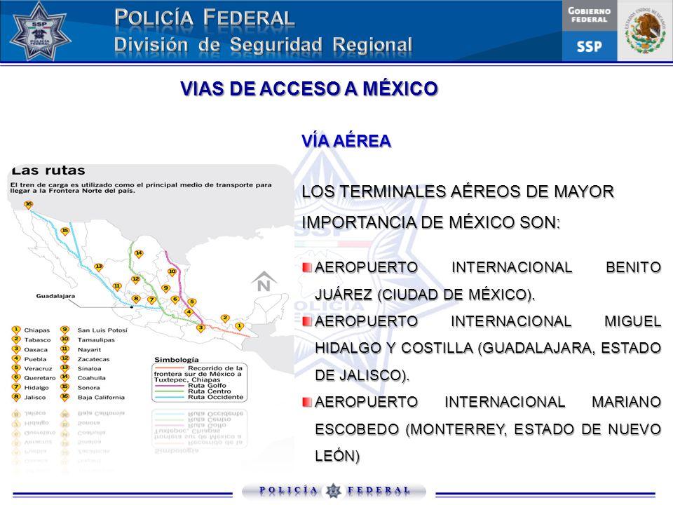 VIAS DE ACCESO A MÉXICO VÍA AÉREA LOS TERMINALES AÉREOS DE MAYOR IMPORTANCIA DE MÉXICO SON: