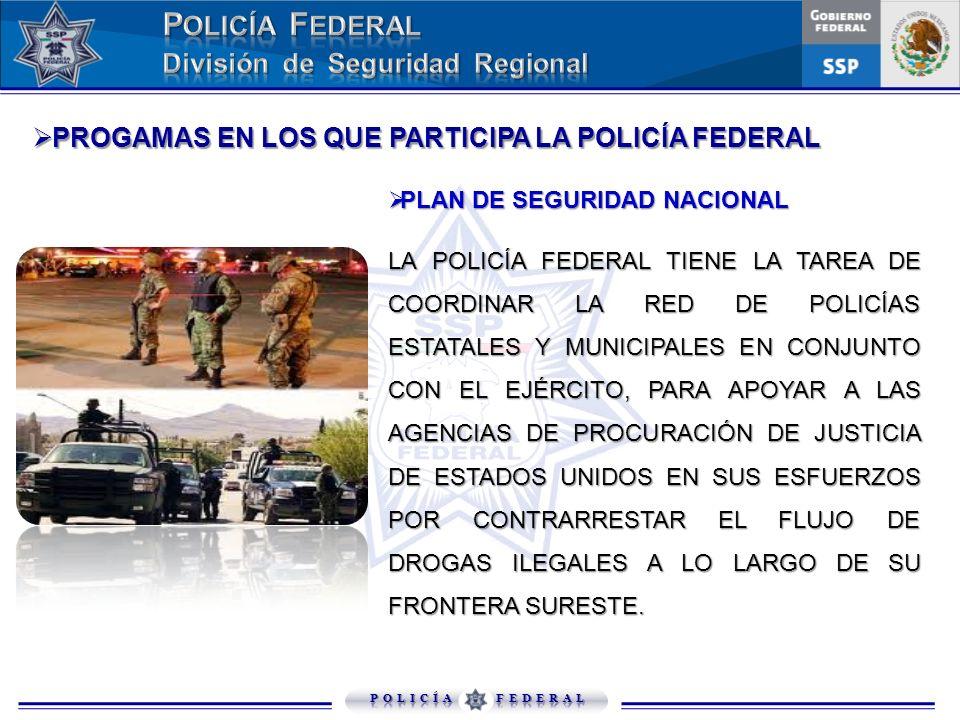 PROGAMAS EN LOS QUE PARTICIPA LA POLICÍA FEDERAL