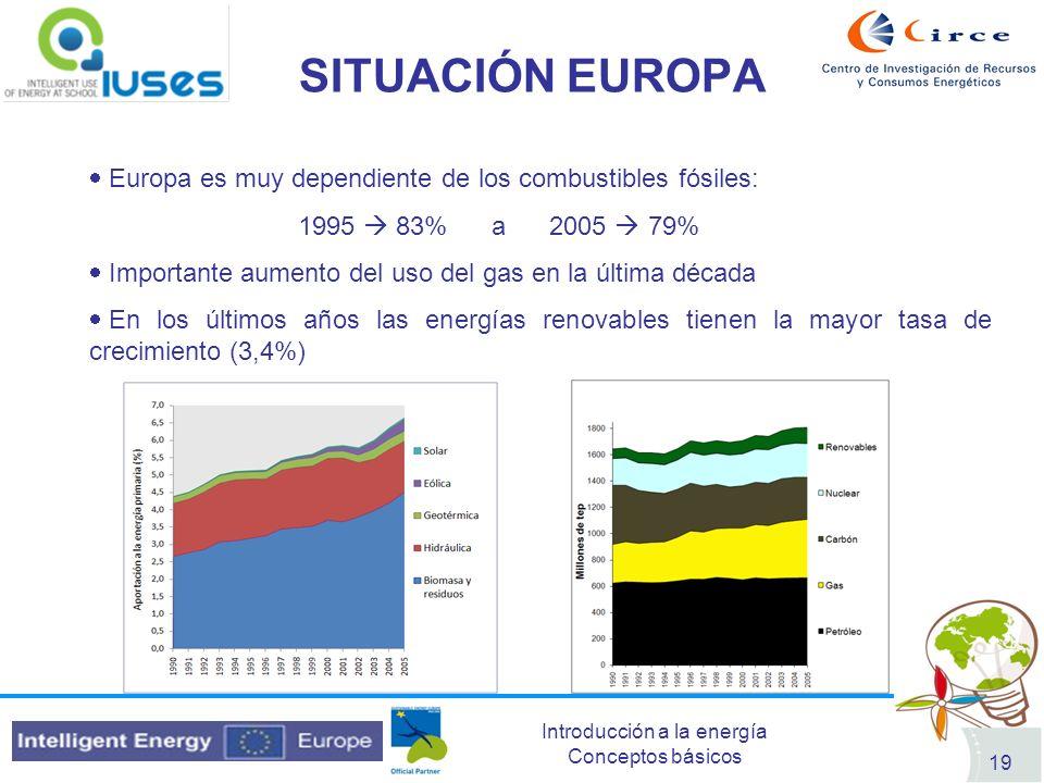 SITUACIÓN EUROPA Europa es muy dependiente de los combustibles fósiles: 1995  83% a 2005  79%