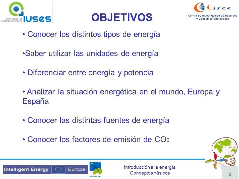 OBJETIVOS Conocer los distintos tipos de energía
