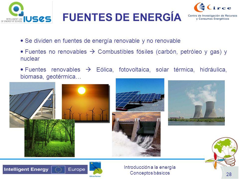 FUENTES DE ENERGÍA Se dividen en fuentes de energía renovable y no renovable.
