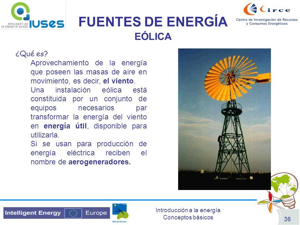 FUENTES DE ENERGÍA EÓLICA ¿Qué es