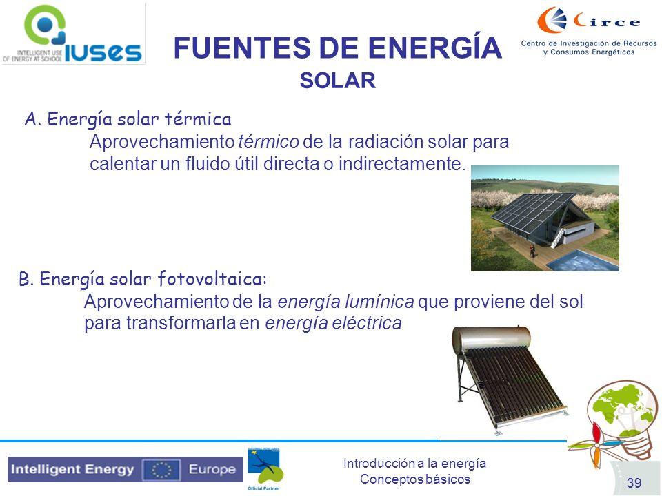 FUENTES DE ENERGÍA SOLAR A. Energía solar térmica
