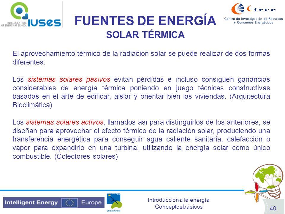 FUENTES DE ENERGÍA SOLAR TÉRMICA