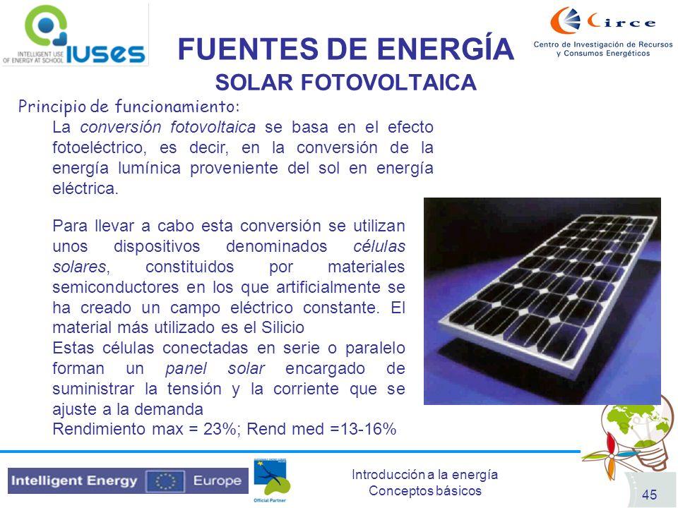 FUENTES DE ENERGÍA SOLAR FOTOVOLTAICA Principio de funcionamiento: