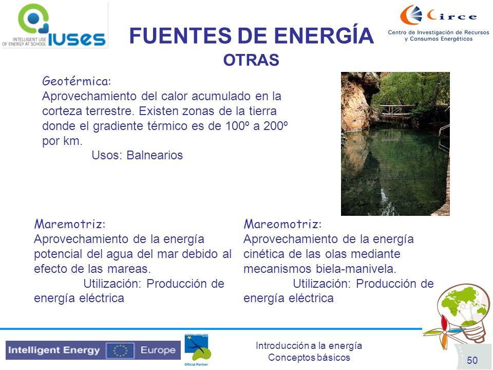 FUENTES DE ENERGÍA OTRAS Geotérmica: