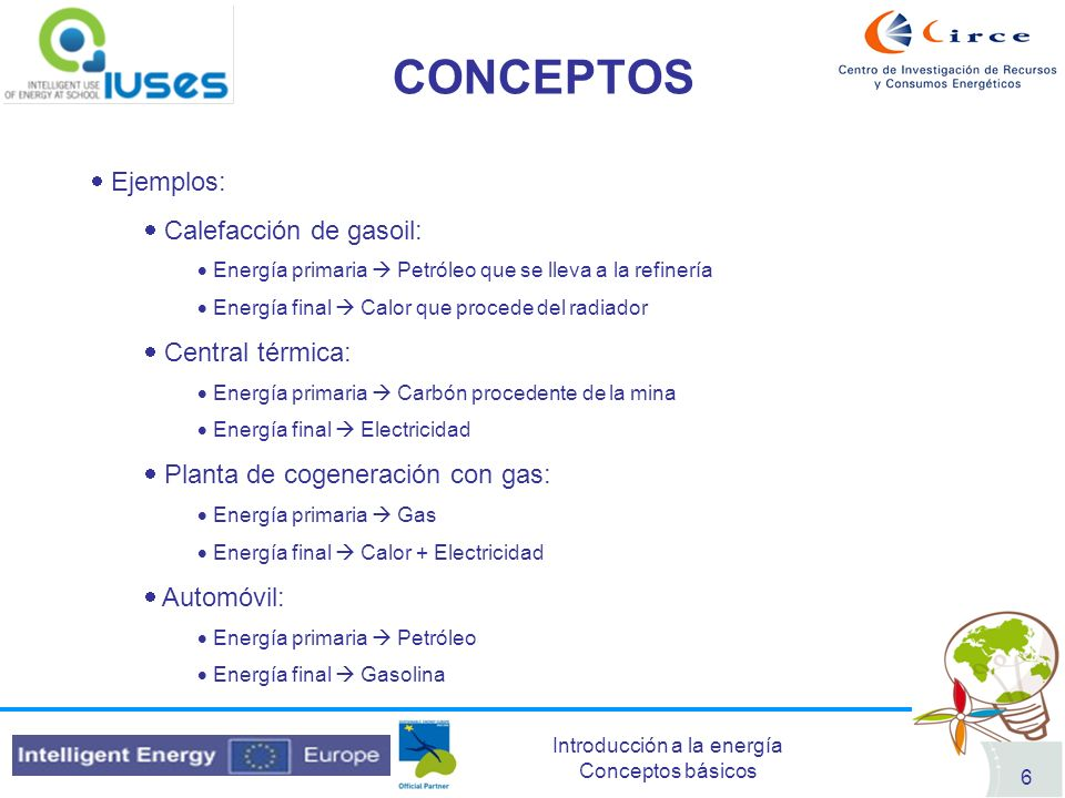 CONCEPTOS Ejemplos: Calefacción de gasoil: Central térmica: