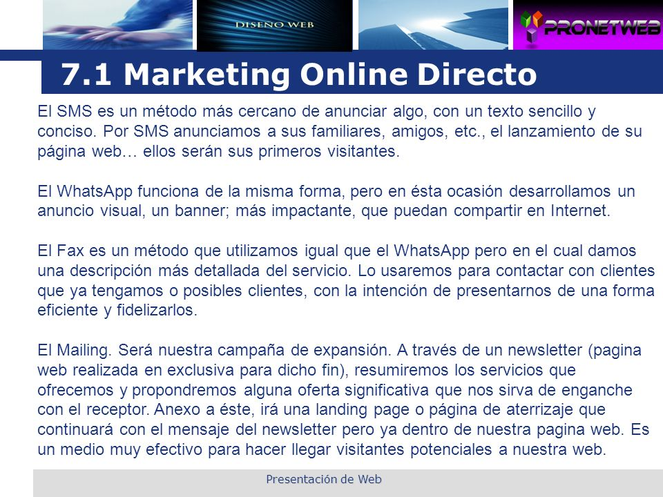 7.1 Marketing Online Directo