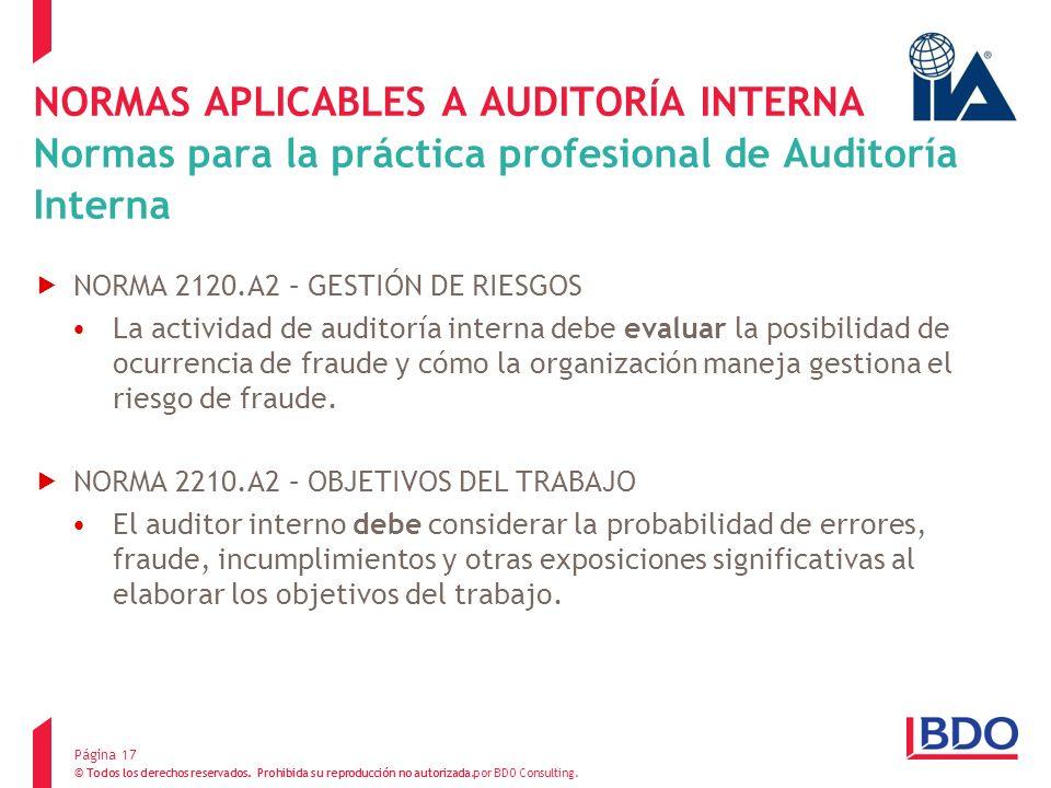 NORMAS APLICABLES A AUDITORÍA INTERNA Normas para la práctica profesional de Auditoría Interna