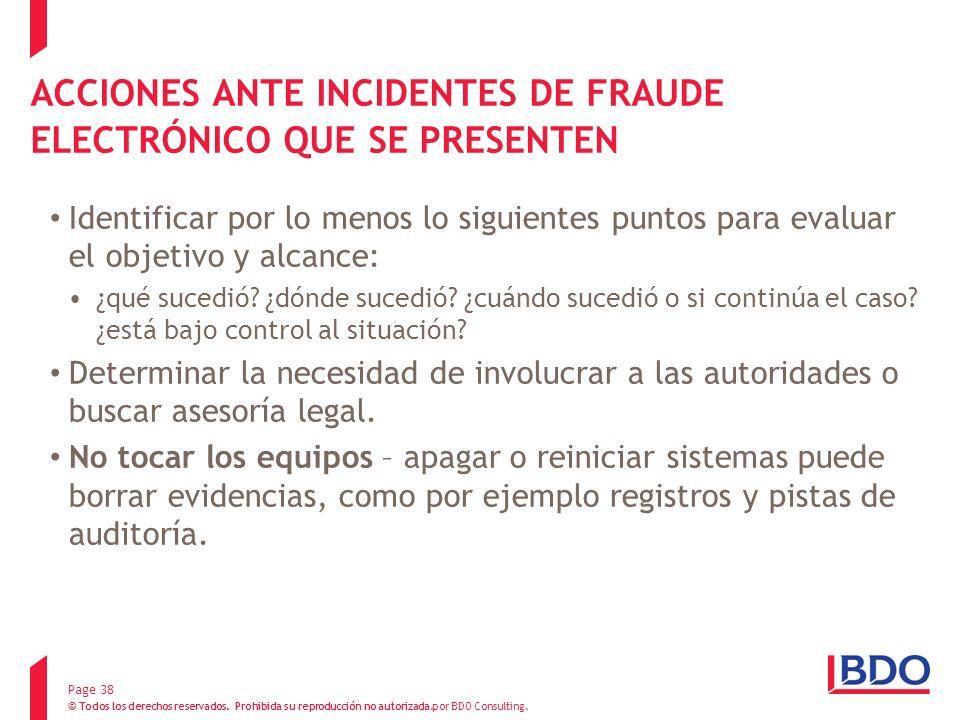 ACCIONES ANTE INCIDENTES DE FRAUDE ELECTRÓNICO QUE SE PRESENTEN