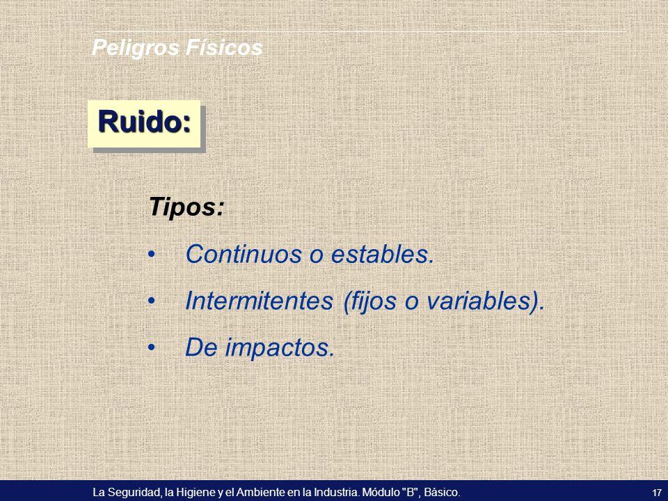 Ruido: Tipos: Continuos o estables. Intermitentes (fijos o variables).