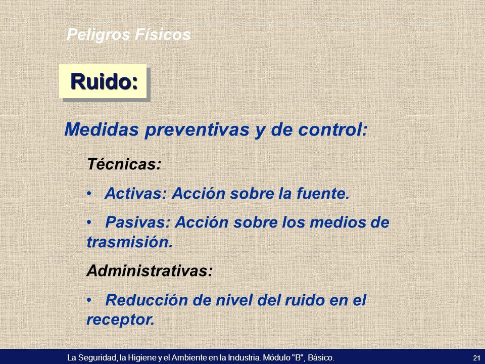 Ruido: Medidas preventivas y de control: Peligros Físicos Técnicas: